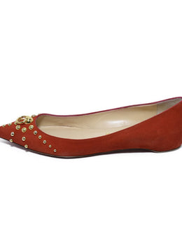 Christian Louboutin Red Suede Gold Studs Flats 2