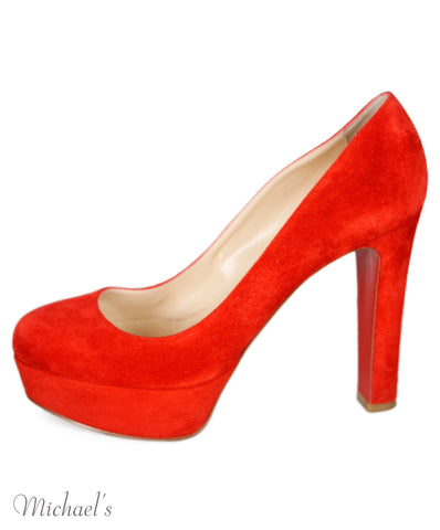 Christian Louboutin Heels US 10.5 Red Suede W/Dust Bag Shoes