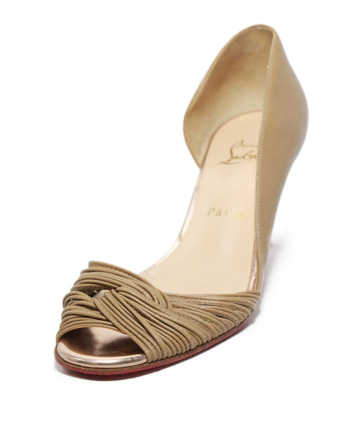 Christian Louboutin Tan Gathered Leather Peep Toe Heels 1