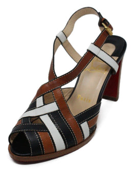 Christian Louboutin White Brown Black Leather Sandals 1