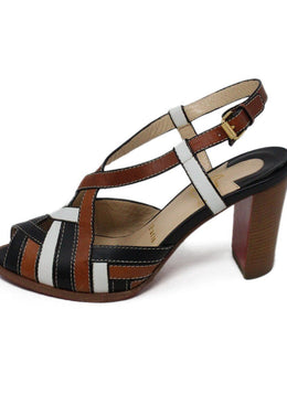 Christian Louboutin White Brown Black Leather Sandals 2
