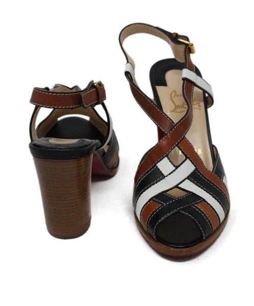 Christian Louboutin White Brown Black Leather Sandals 3