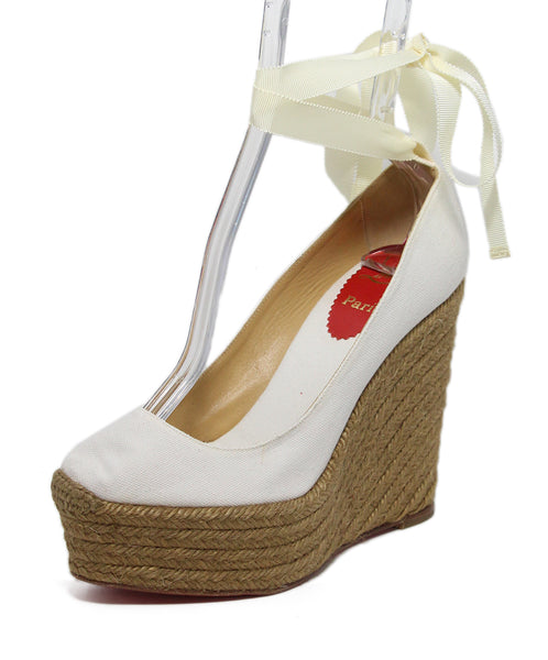 Christian Louboutin White Canvas Espadrille Wedges 1