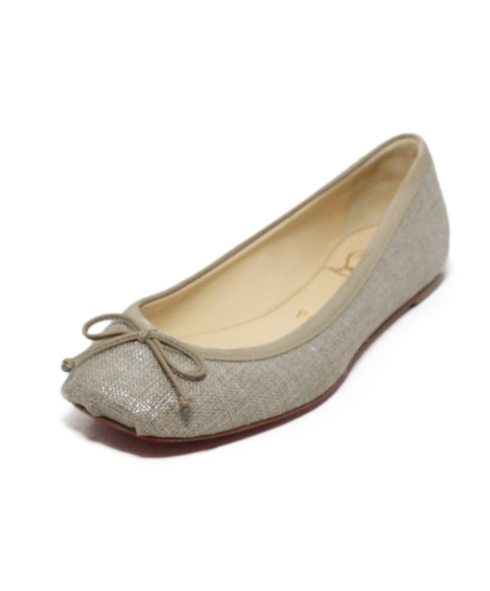 low priced cd5f6 951e3 Christian Louboutin Beige Canvas Flats, Sz. 35