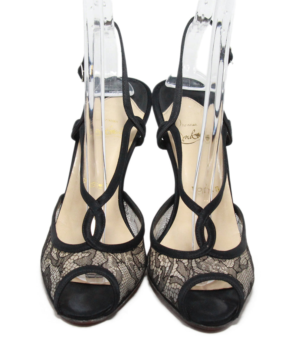 Christian Louboutin black Lace satin heels 4