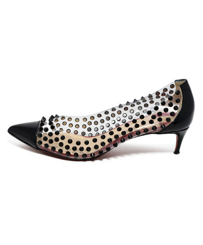 Christian Louboutin Black Patent Studs Clear Plastic Heels 1