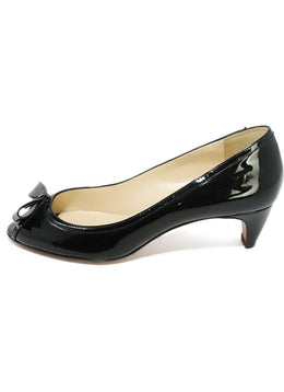 Christian Louboutin Black Patent Leather Bow Detail Peep Toe Heels 2