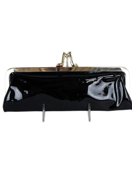 Christian Louboutin Black Patent Leather Gold Shoe Clasp Clutch 1