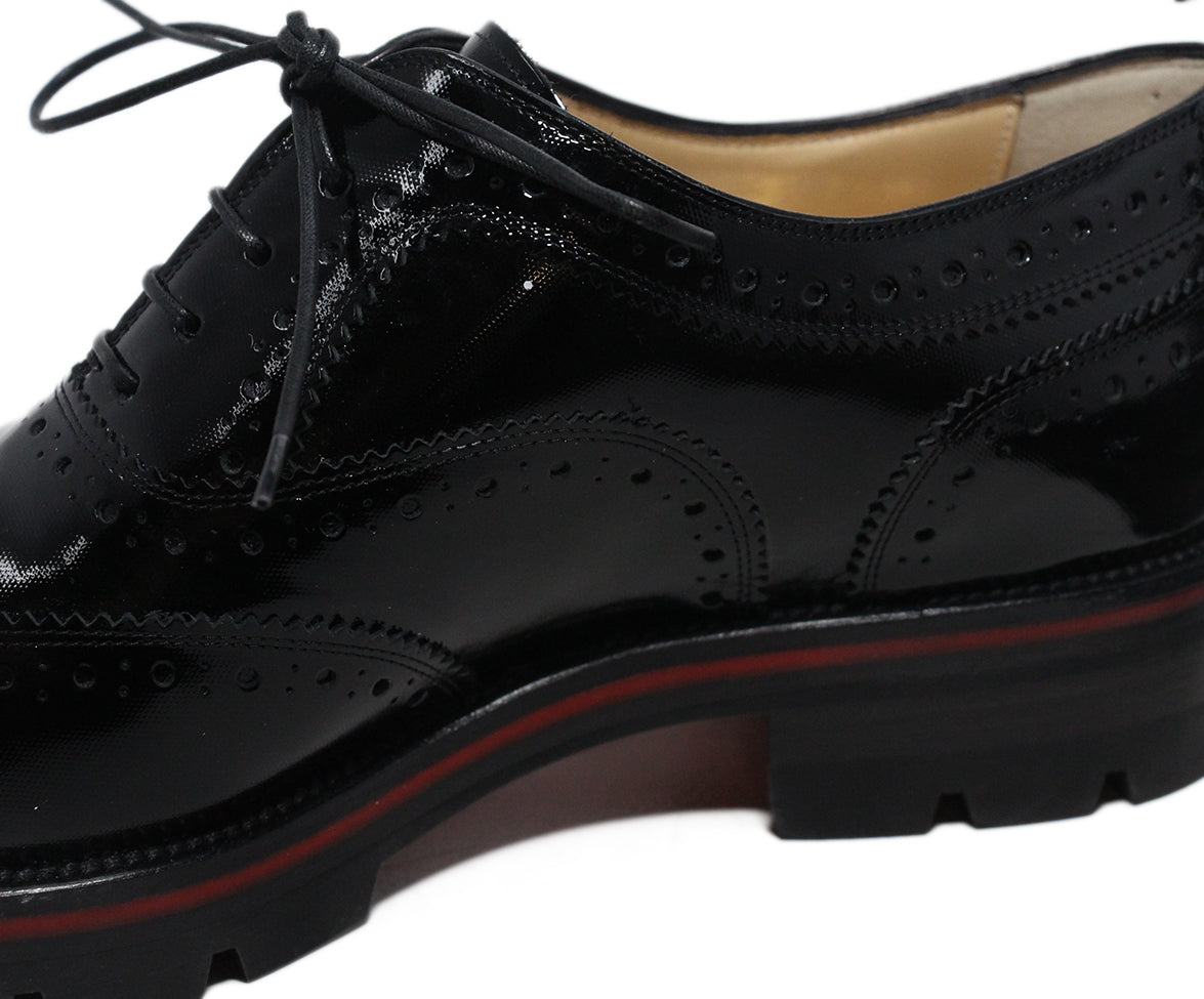 Christian Louboutin black patent leather oxfords 7