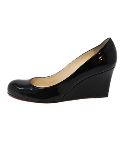 Christian Louboutin black patent leather wedges 1
