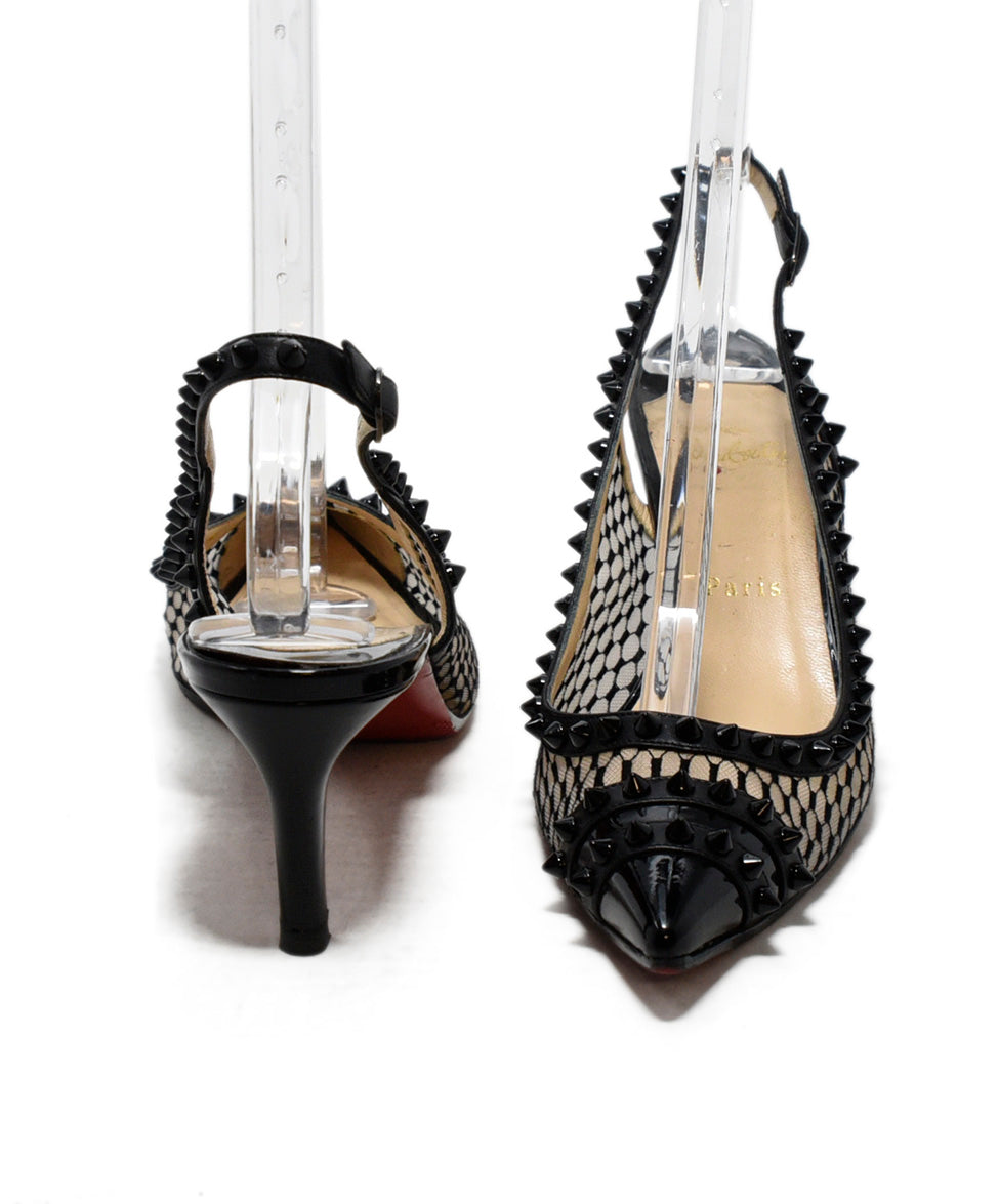 newest collection bad85 d19a1 Christian Louboutin Heels US 9.5 Black Patent Mesh Spikes ...