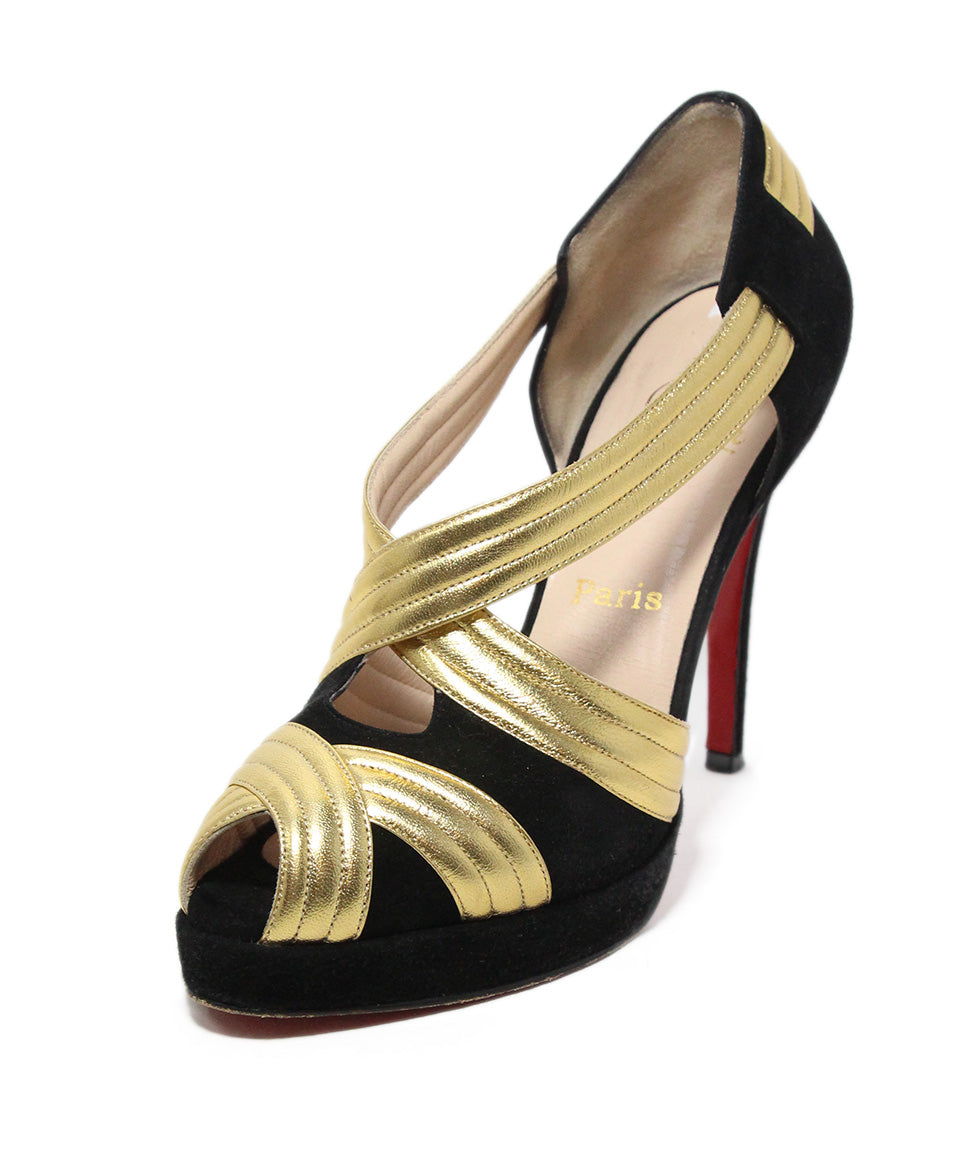 Christian Louboutin black suede gold leather heels 1