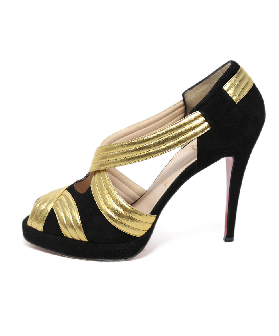 Christian Louboutin black suede gold leather heels 2
