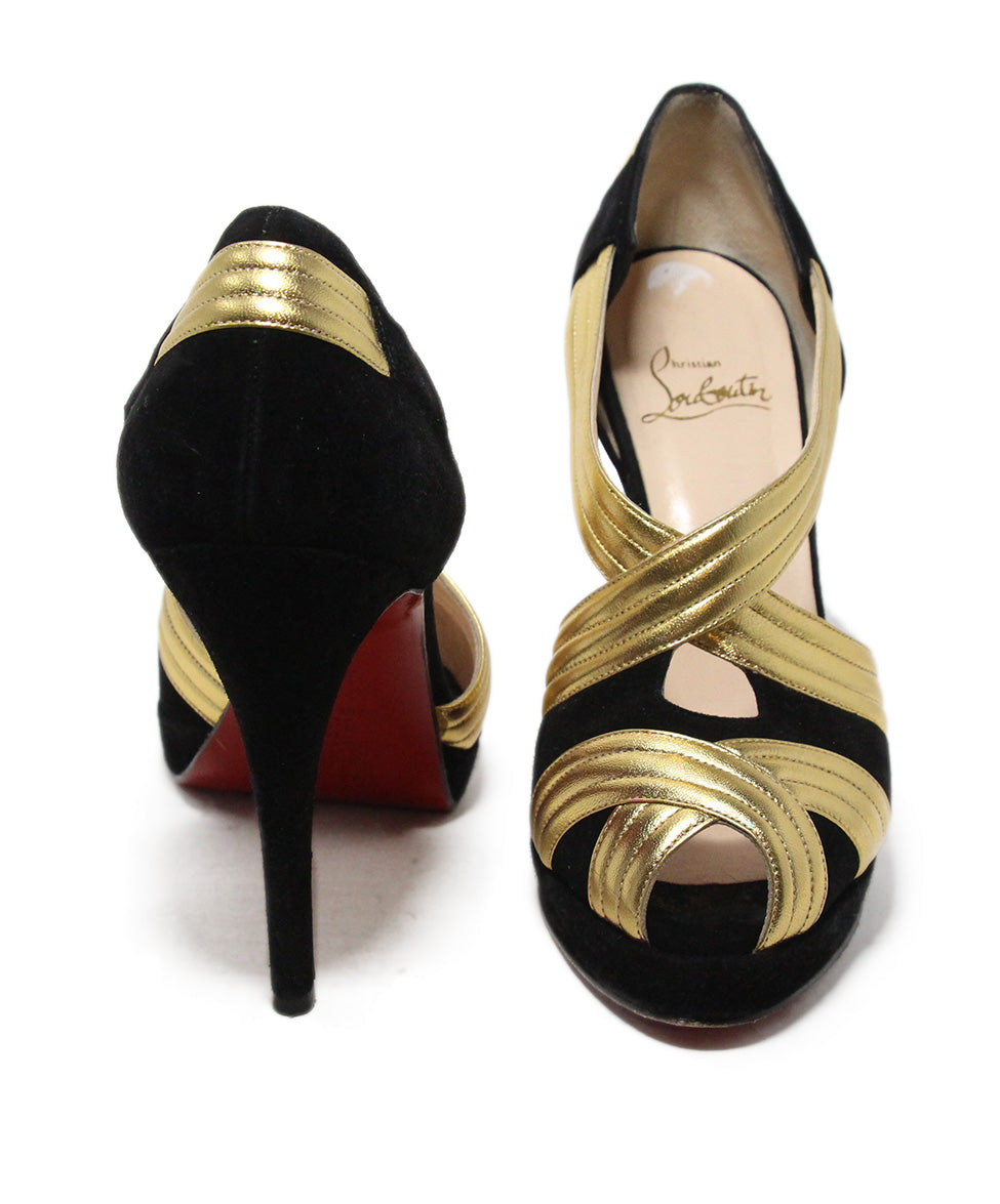 Christian Louboutin black suede gold leather heels 3