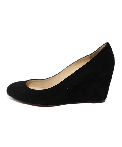 Christian Louboutin Black Suede Wedges 1