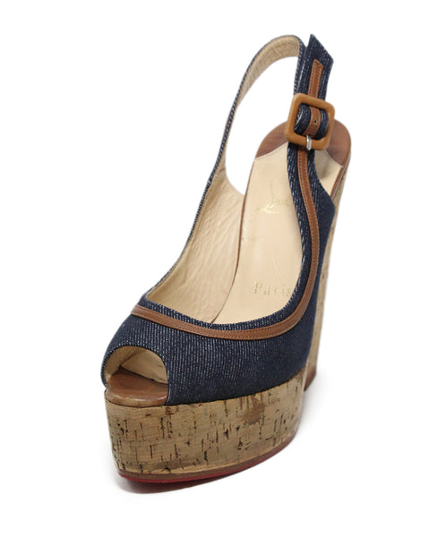 Christian Louboutin blue tan denim cork wedges 1