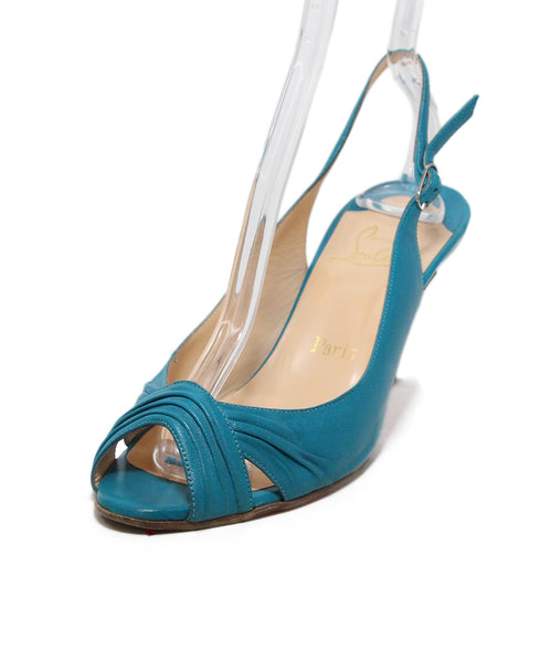 Christian Louboutin blue turquoise leather sling backs 1