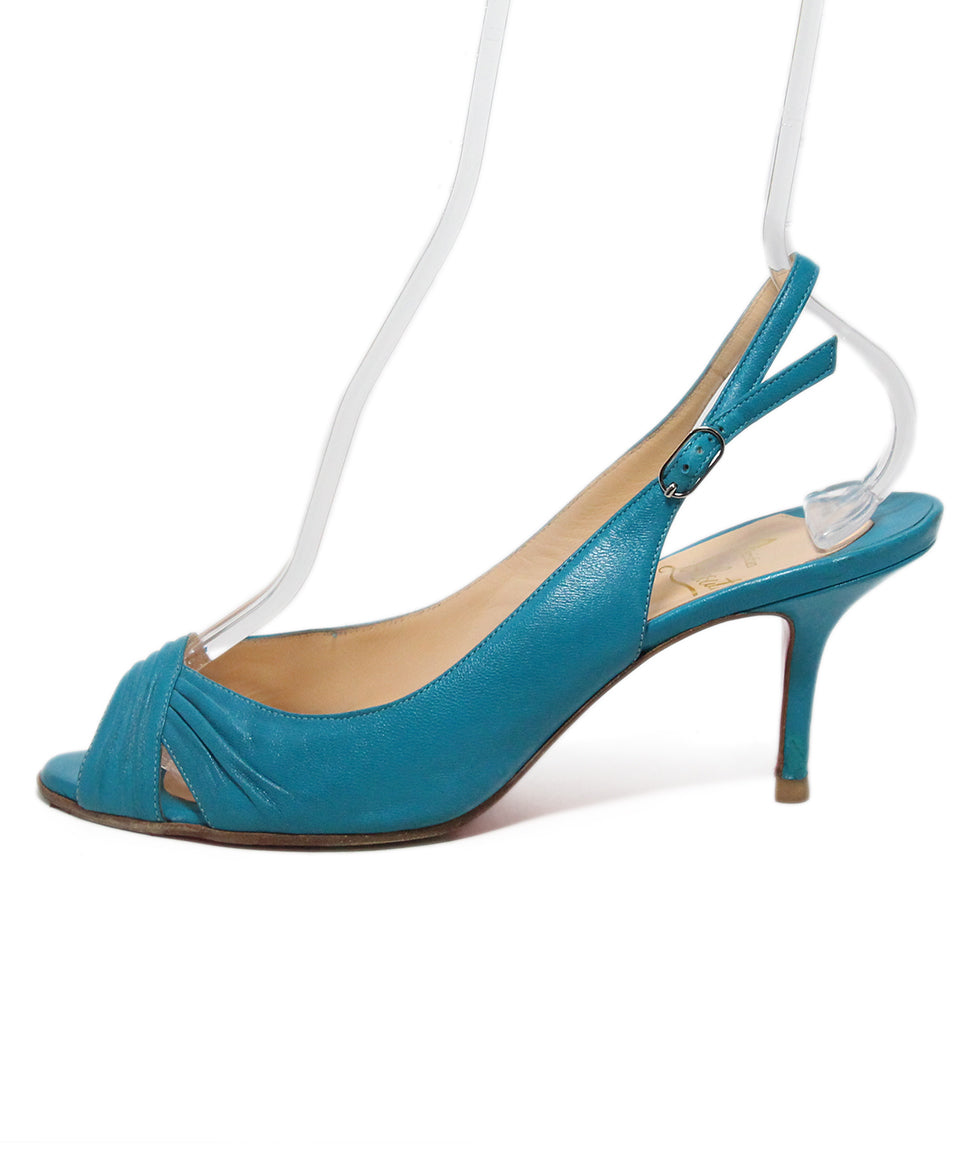 Christian Louboutin blue turquoise leather sling backs 2