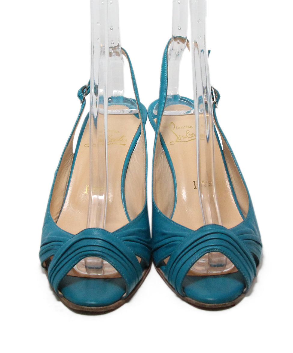 Christian Louboutin blue turquoise leather sling backs 4