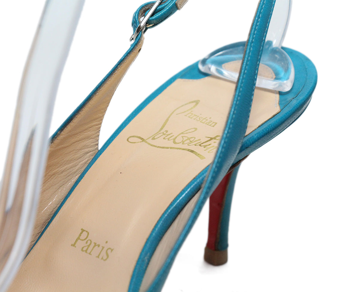 Christian Louboutin blue turquoise leather sling backs 7