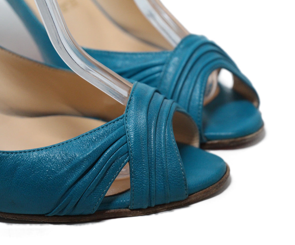 Christian Louboutin blue turquoise leather sling backs 8