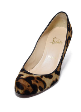 Christian Louboutin Brown Black Pony Animal Print Heels 1