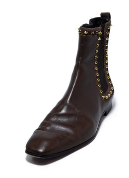 Christian Louboutin Brown Leather Gold Studs Chelsea Boots 1