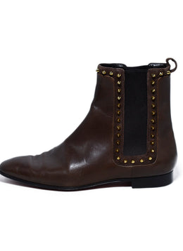 Christian Louboutin Brown Leather Gold Studs Chelsea Boots 2