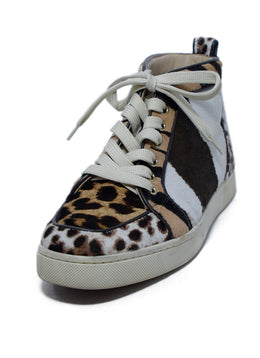 Christian Louboutin Brown Tan Animal Print Fur Sneakers 1
