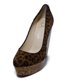 Christian Louboutin Brown Cheetah Print Wedge Shoes 1