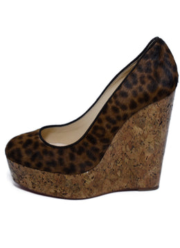 Christian Louboutin Brown Cheetah Print Wedge Shoes 2