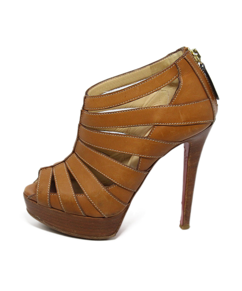 Christian Louboutin Brown Tan Leather Open Toe Heels 2