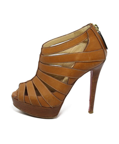 Christian Louboutin Brown Tan Leather Open Toe Heels 1