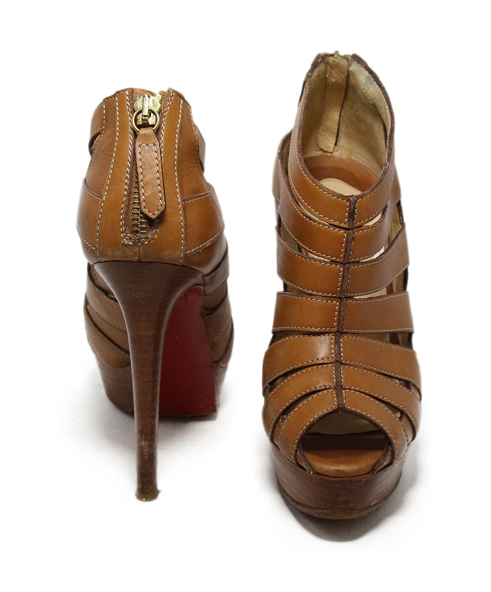 Christian Louboutin Brown Tan Leather Open Toe Heels 3