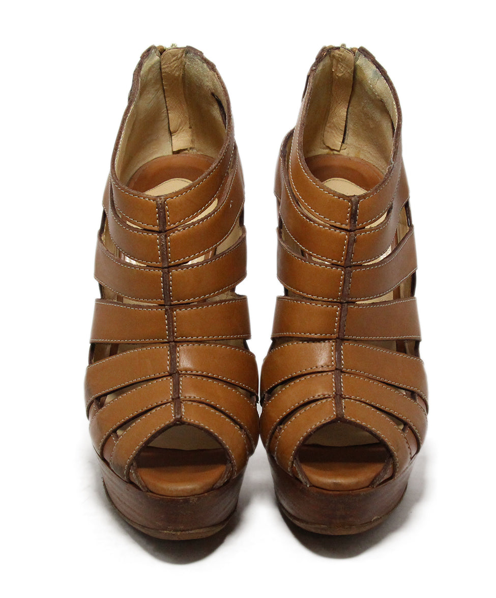 Christian Louboutin Brown Tan Leather Open Toe Heels 4