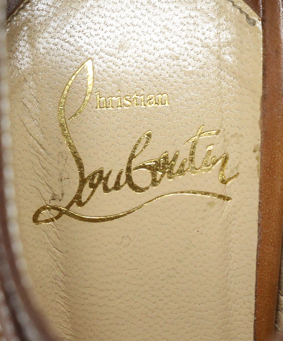 Christian Louboutin Brown Tan Leather Open Toe Heels 7