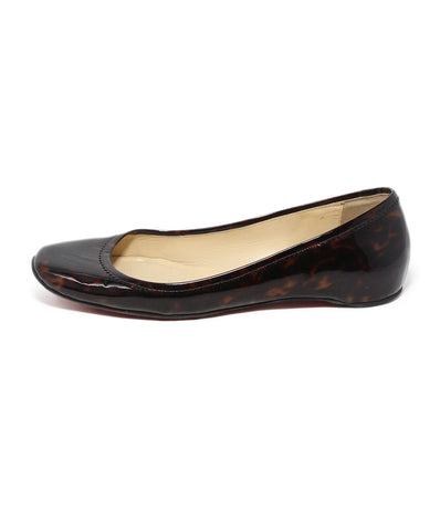 Christian Louboutin brown tortoise print patent leather flats 1