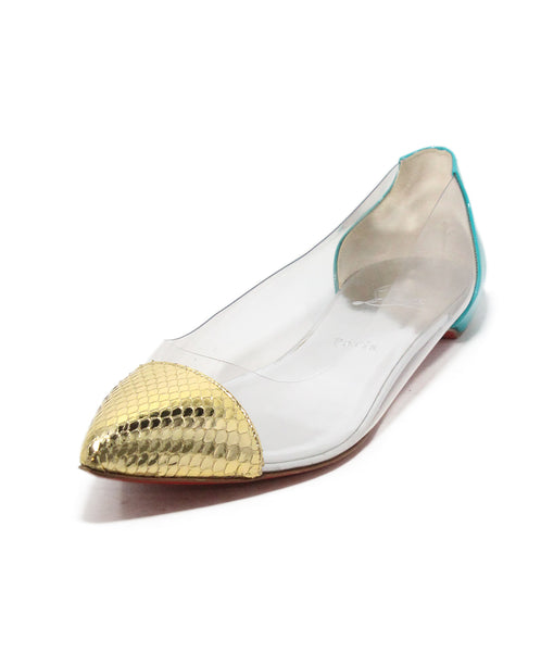 Christian Louboutin gold snake skin teal patent clear flats 1