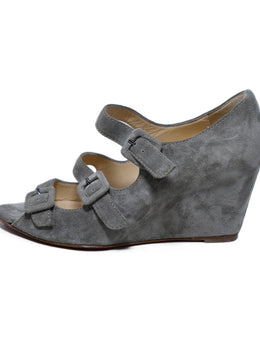 Christian Louboutin Grey Suede Buckle Wedge Heels 2