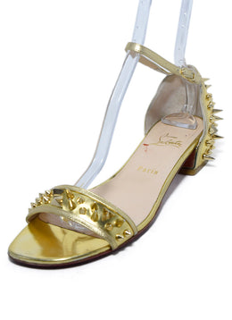 Christian Louboutin Gold Leather Studs Sandals Sz. 40.5 | Christian Louboutin