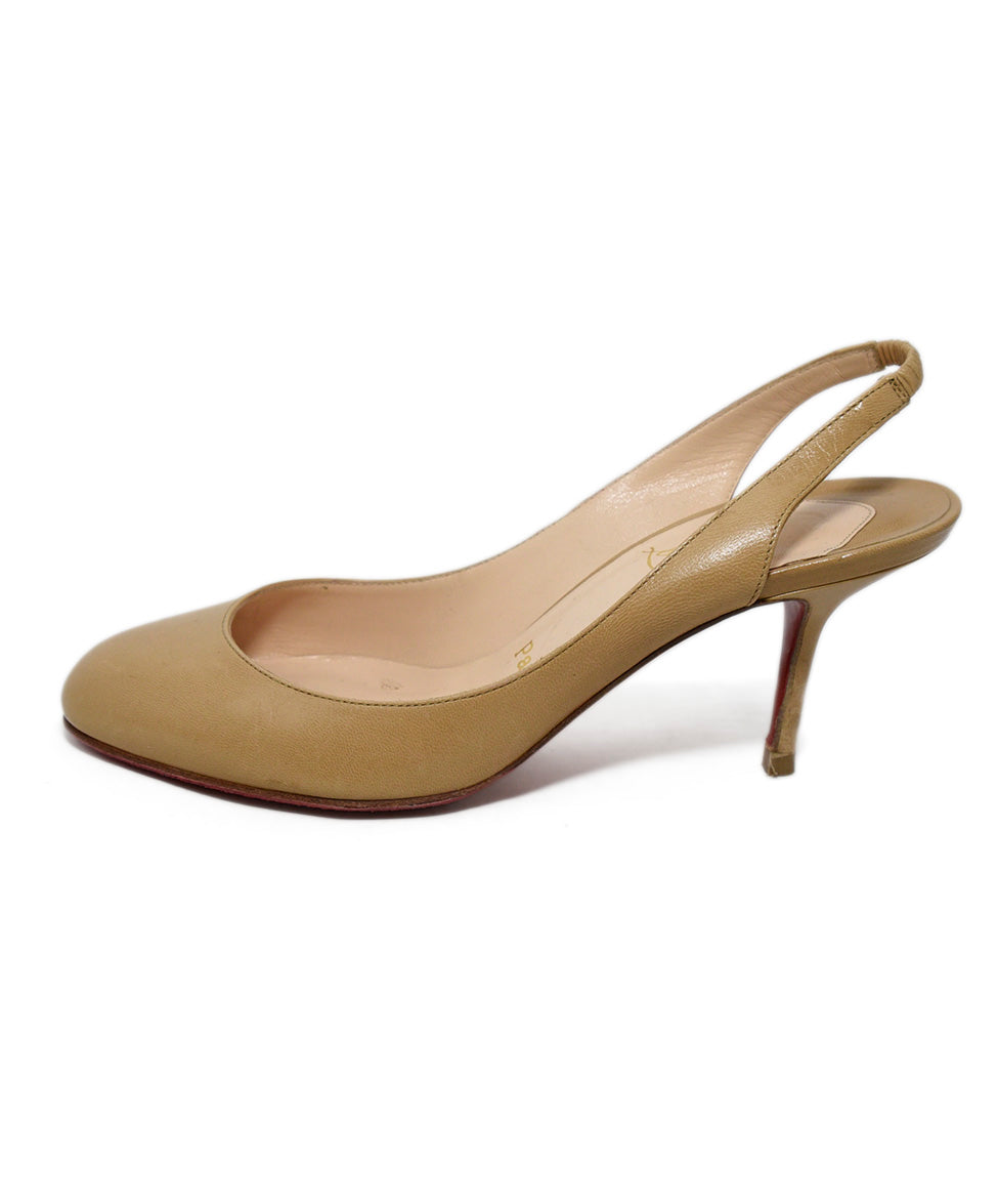 Christian Louboutin Neutral Tan Leather Sling Backs Heels 2