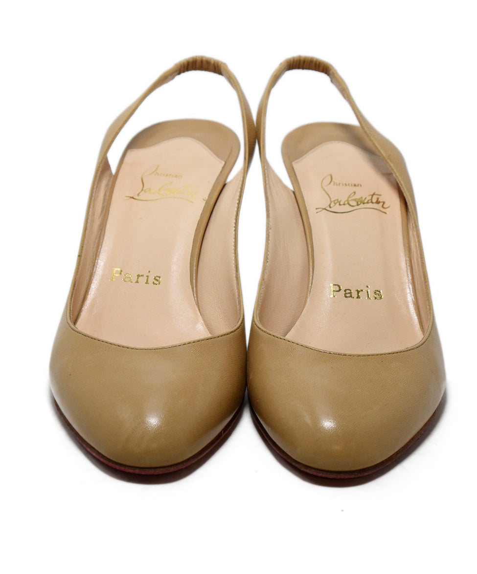 Christian Louboutin Neutral Tan Leather Sling Backs Heels 4