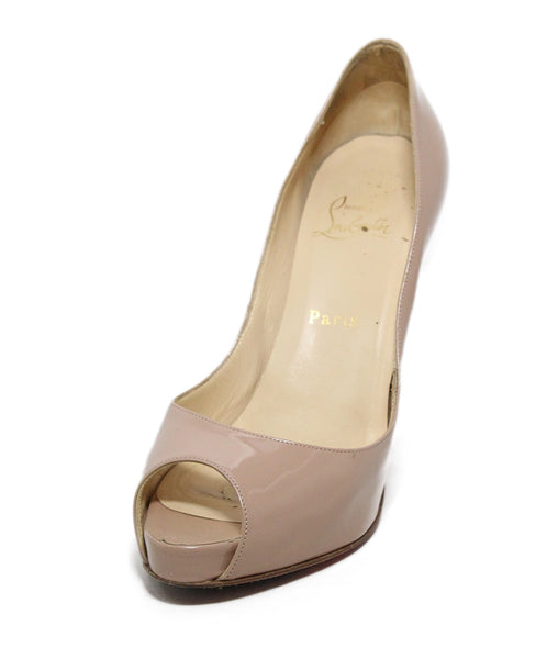 Christian Louboutin Nude Patent Leather Peep Toe Heels 1