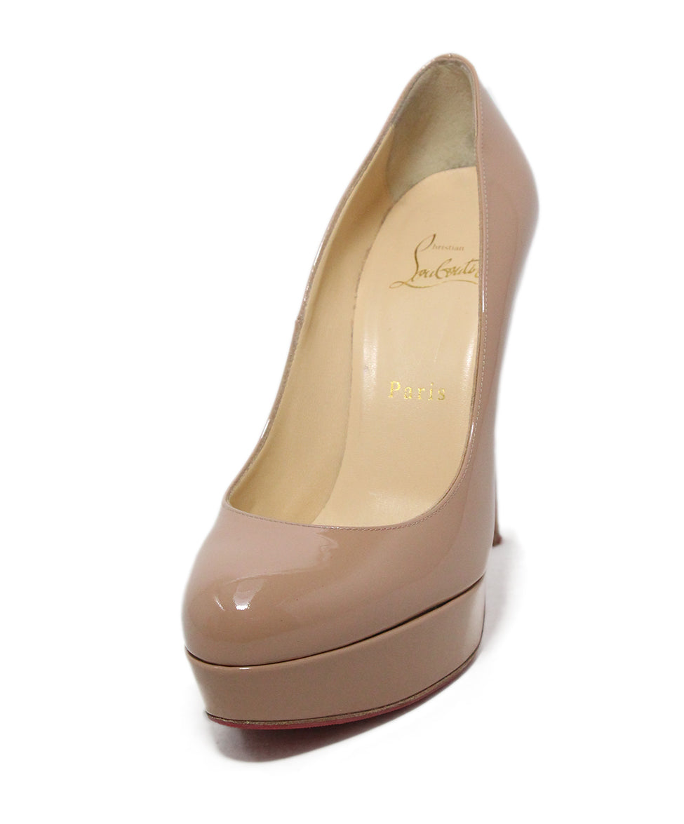 a48b27a0f5 Christian Louboutin Heels US 7.5 Neutral Nude Patent Platform W/Dust ...