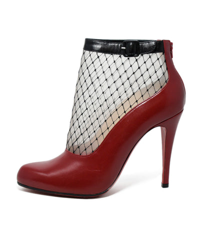 Christian Louboutin Red Leather Black Mesh Booties 1