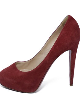 Christian Louboutin Red Suede Platform Heels 2