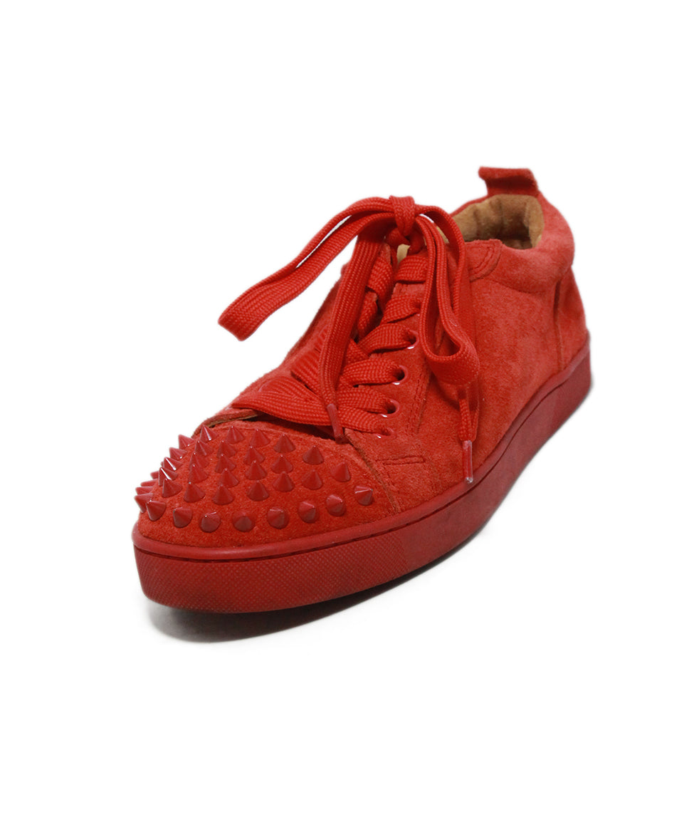 timeless design 9833b d3076 Christian Louboutin Sneakers US 5 Red Suede Studded Trim Shoes