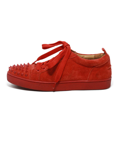 Christian Louboutin red suede studded trim sneakers 1