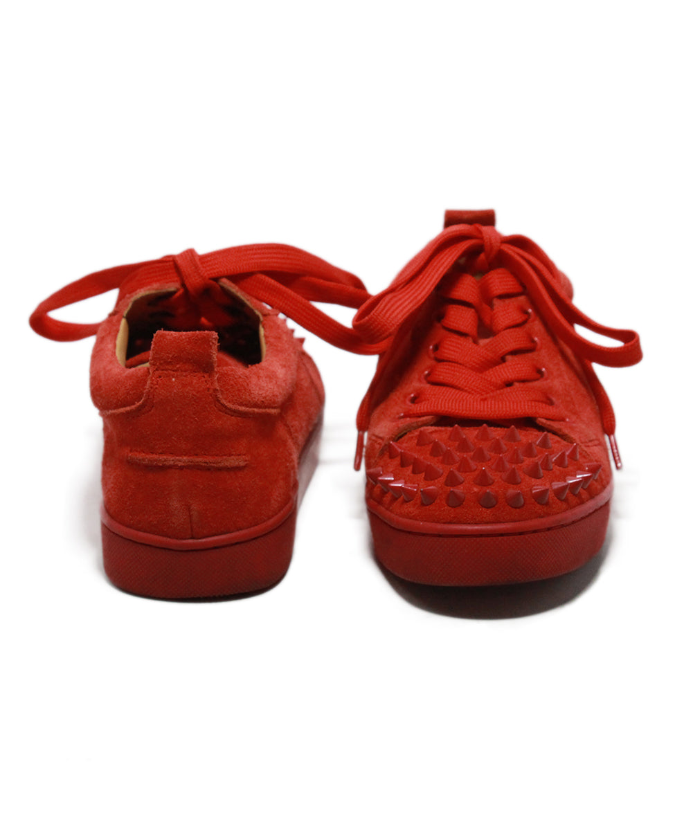 Christian Louboutin red suede studded trim sneakers 3