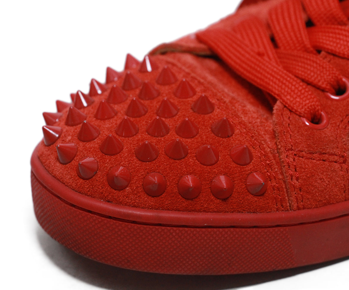 Christian Louboutin red suede studded trim sneakers 7